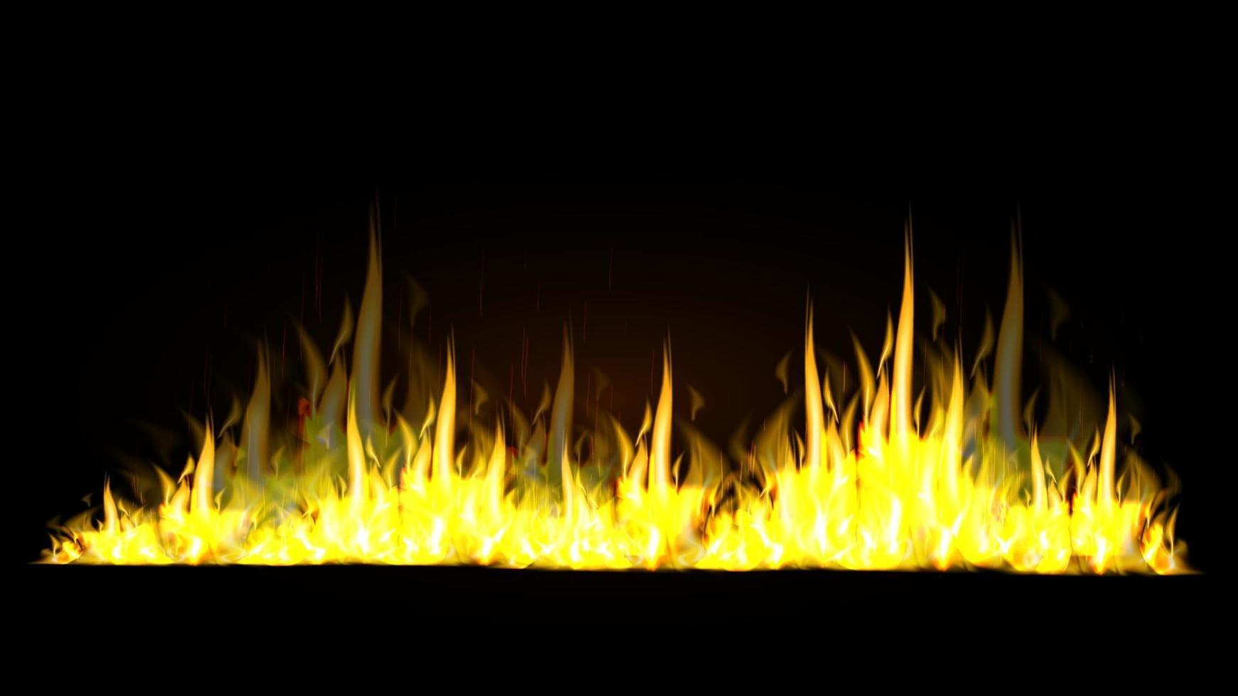 Realistic horizontal fire flames isolated on black background for your arts vector