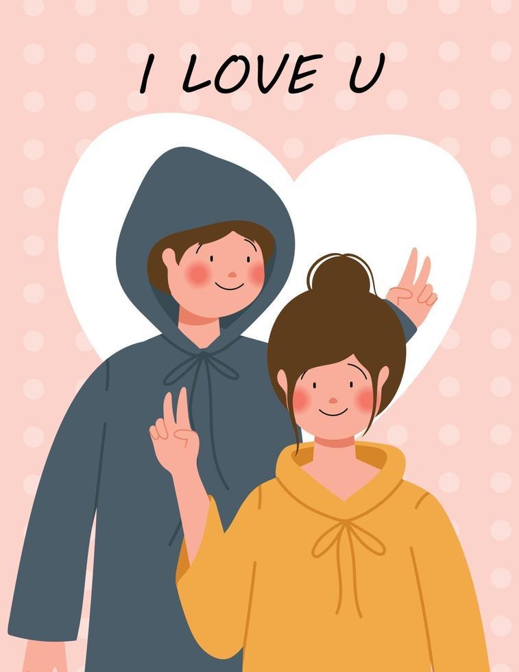cartel de feliz día de san valentín con linda pareja ilustración vectorial vector