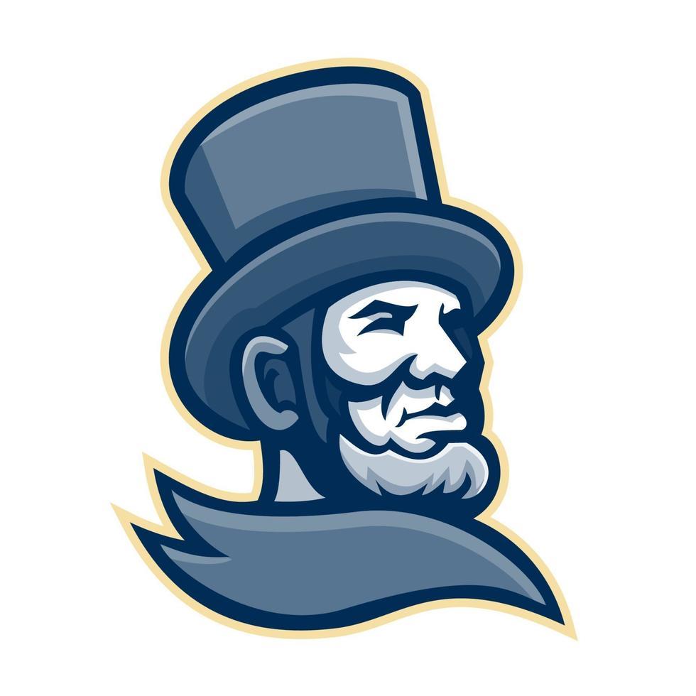 American President Abraham Lincoln head mascot vector