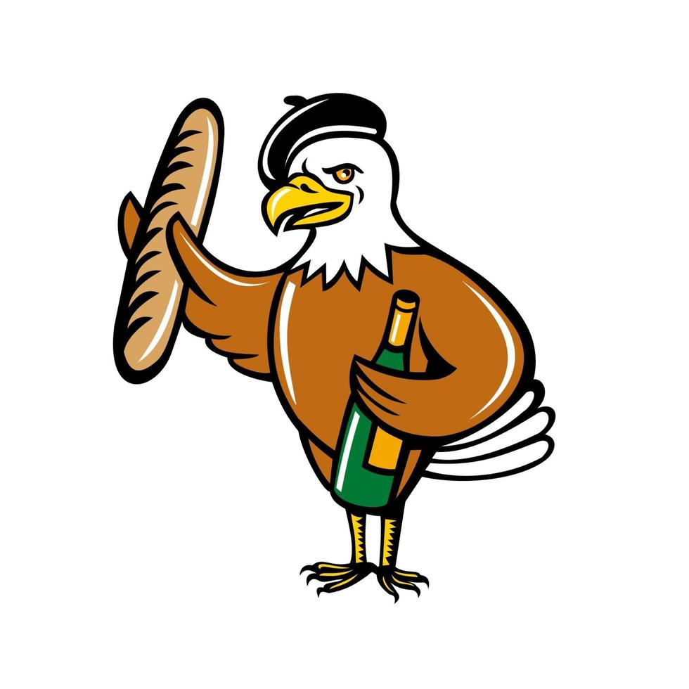 american eagle wearing beret holding a baguete and bottle of wine cartoon vector
