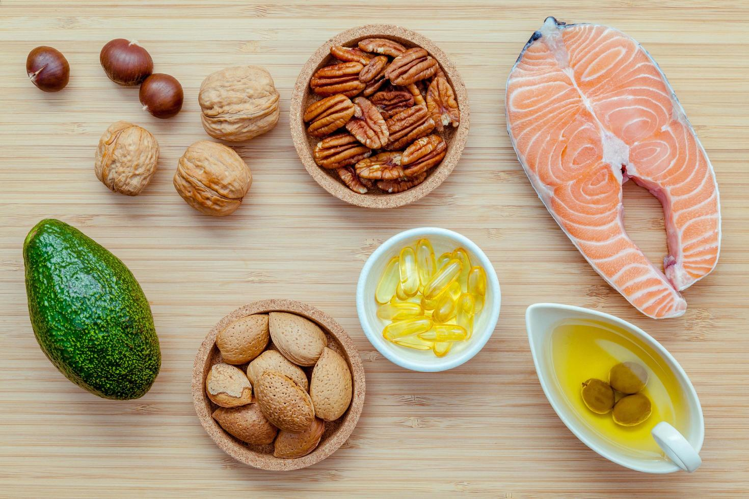 Selection of food sources containing omega 3 and unsaturated fats photo