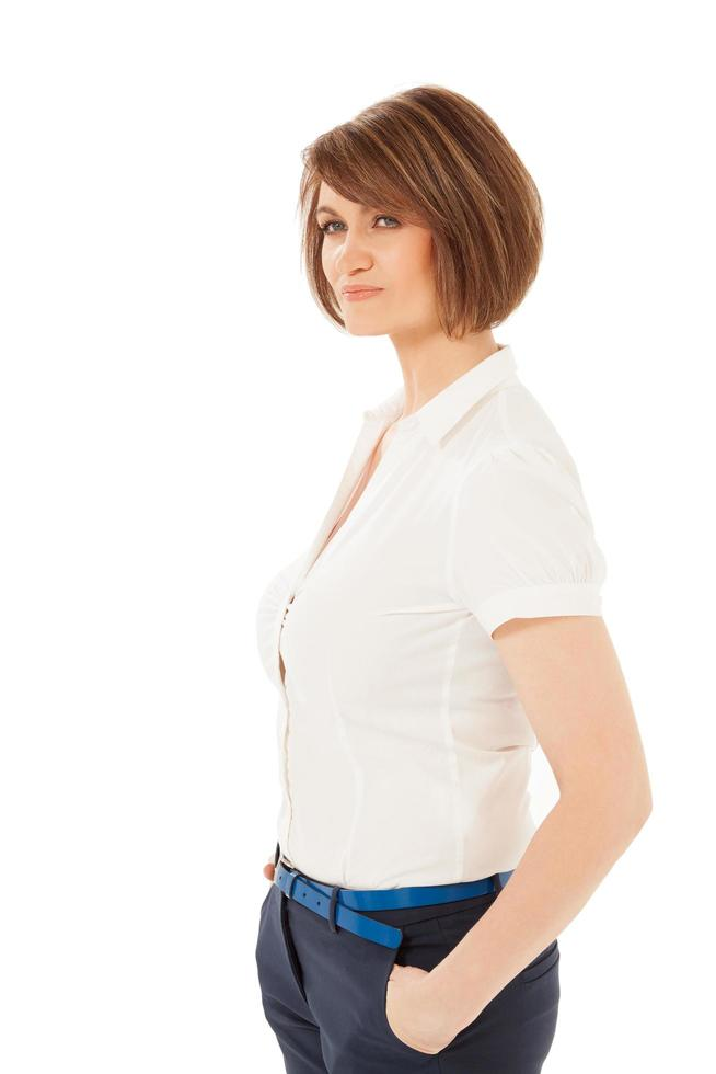Portrait of a woman with a white shirt photo