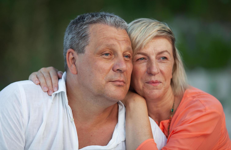 Mature couple embracing photo
