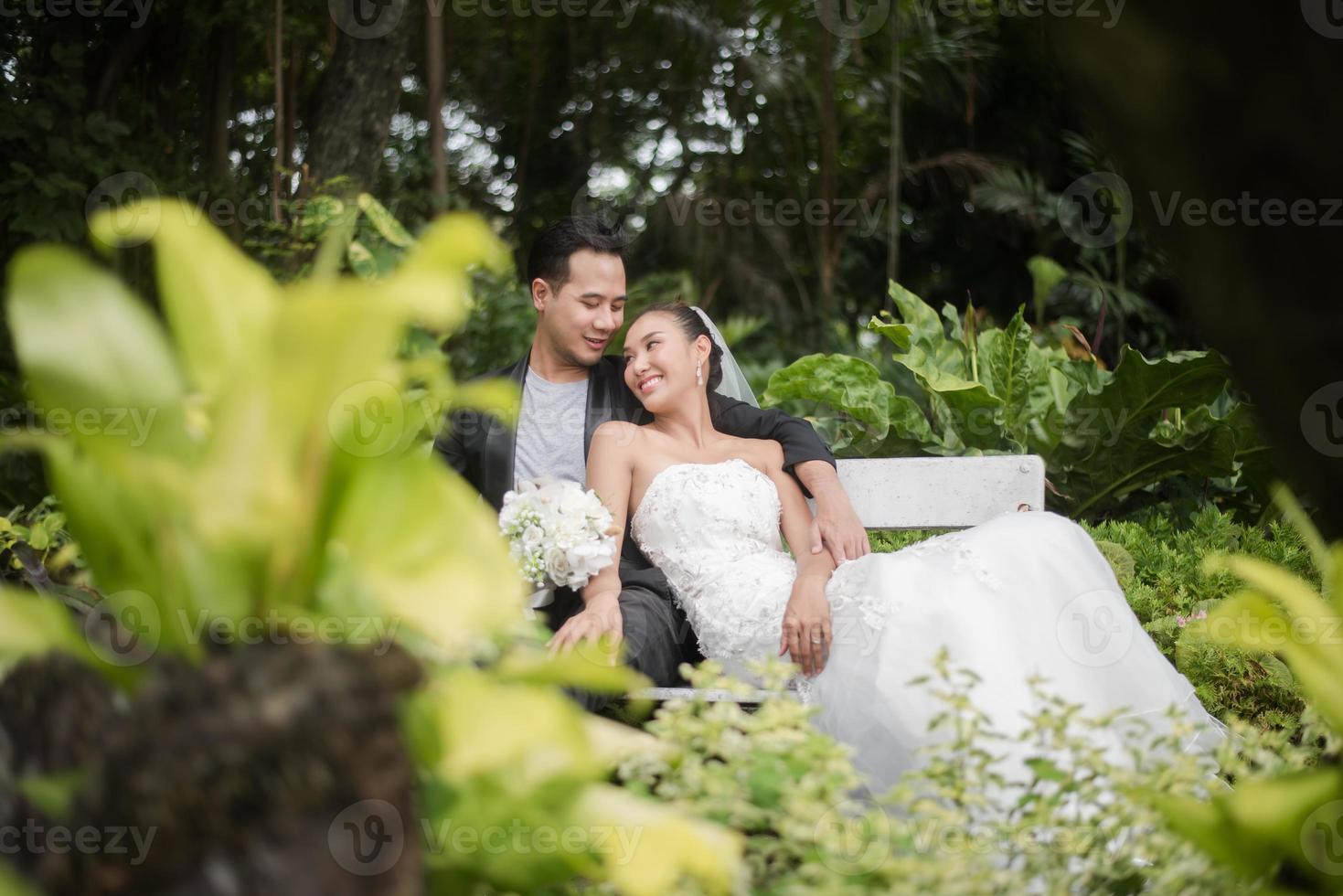 La novia y el novio sentados en la rama con el fondo del parque verde foto