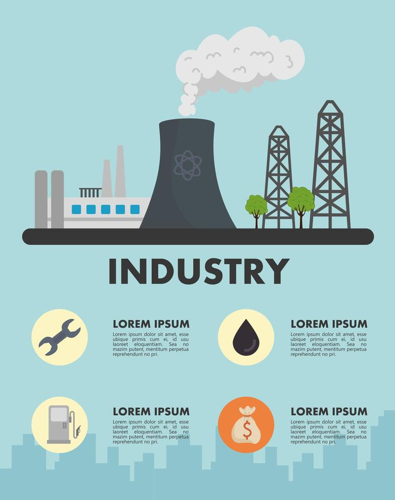 energy industry production power plant scene banner template vector