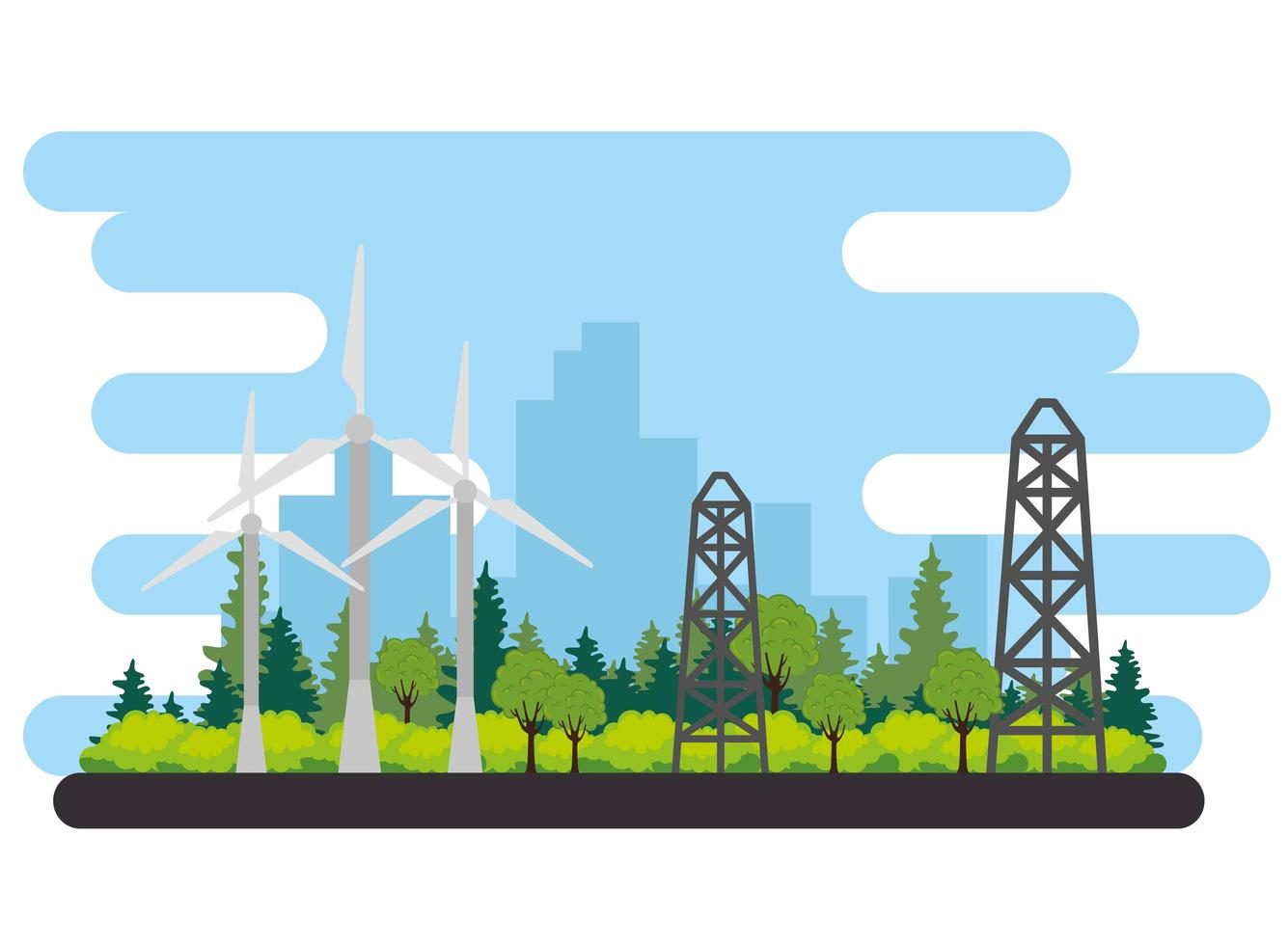 wind turbine for energy alternative scene vector