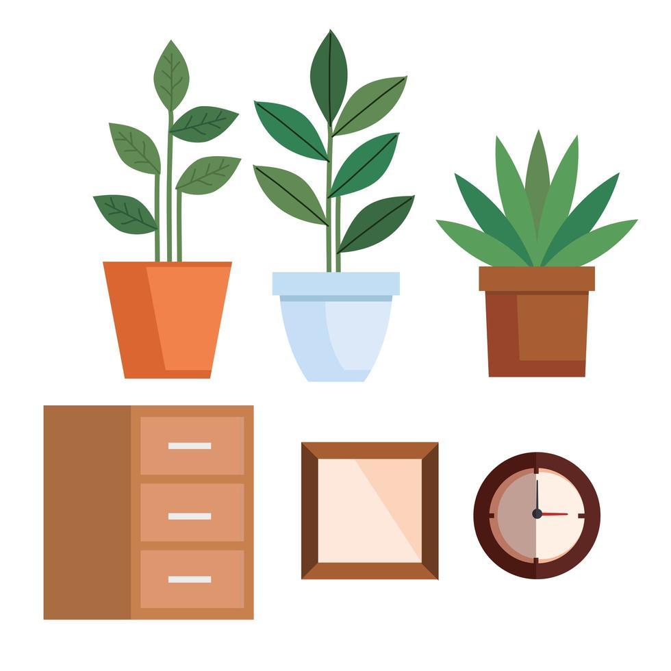 conjunto de iconos de decoración del hogar en interiores vector