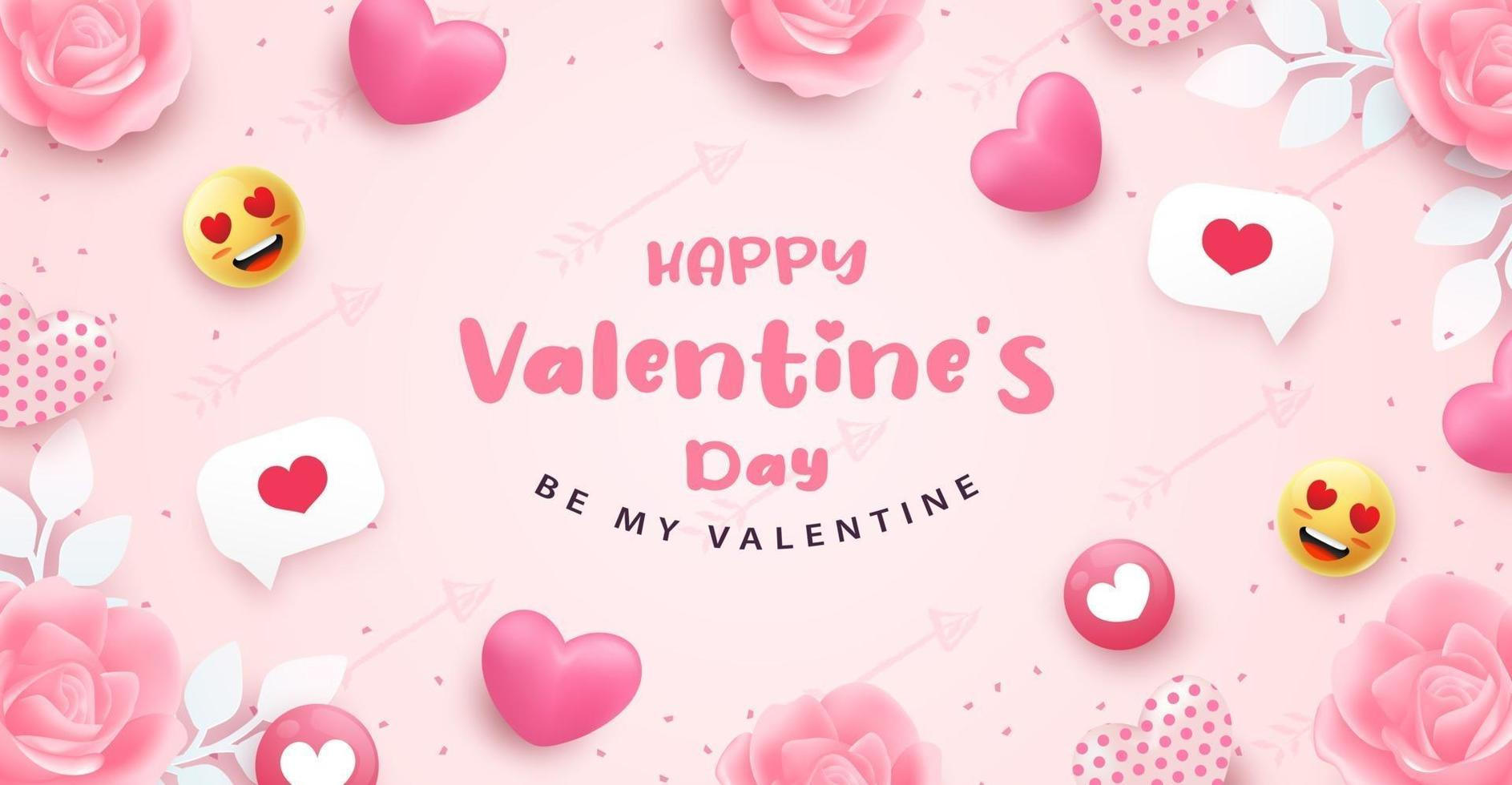 Happy Valentine's Day banner or background with 3D realistic pink heart vector