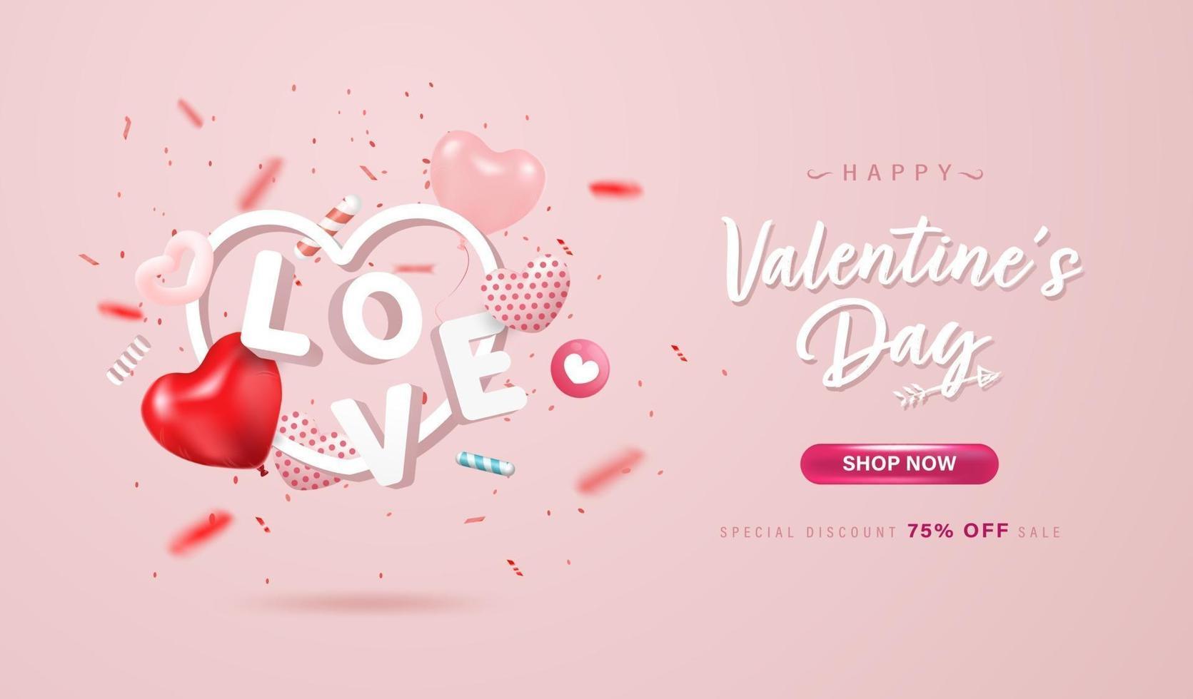 Happy Valentine's Day online shopping banner or background design vector