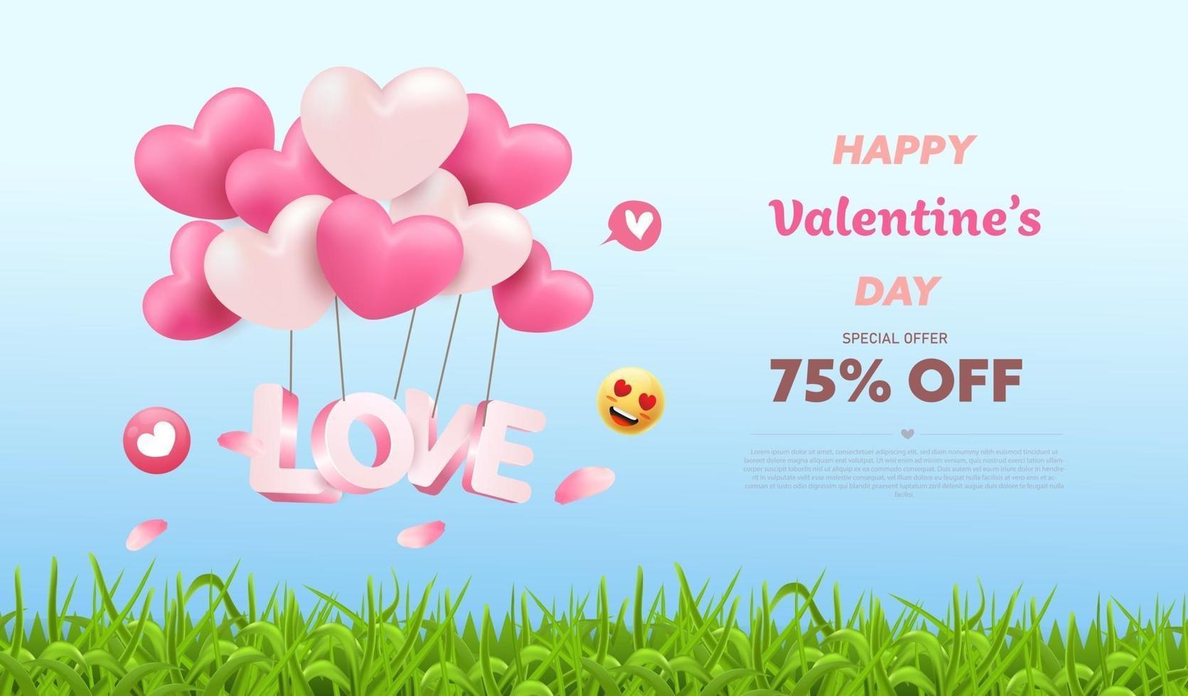 Valentine's Day Sale nature background vector
