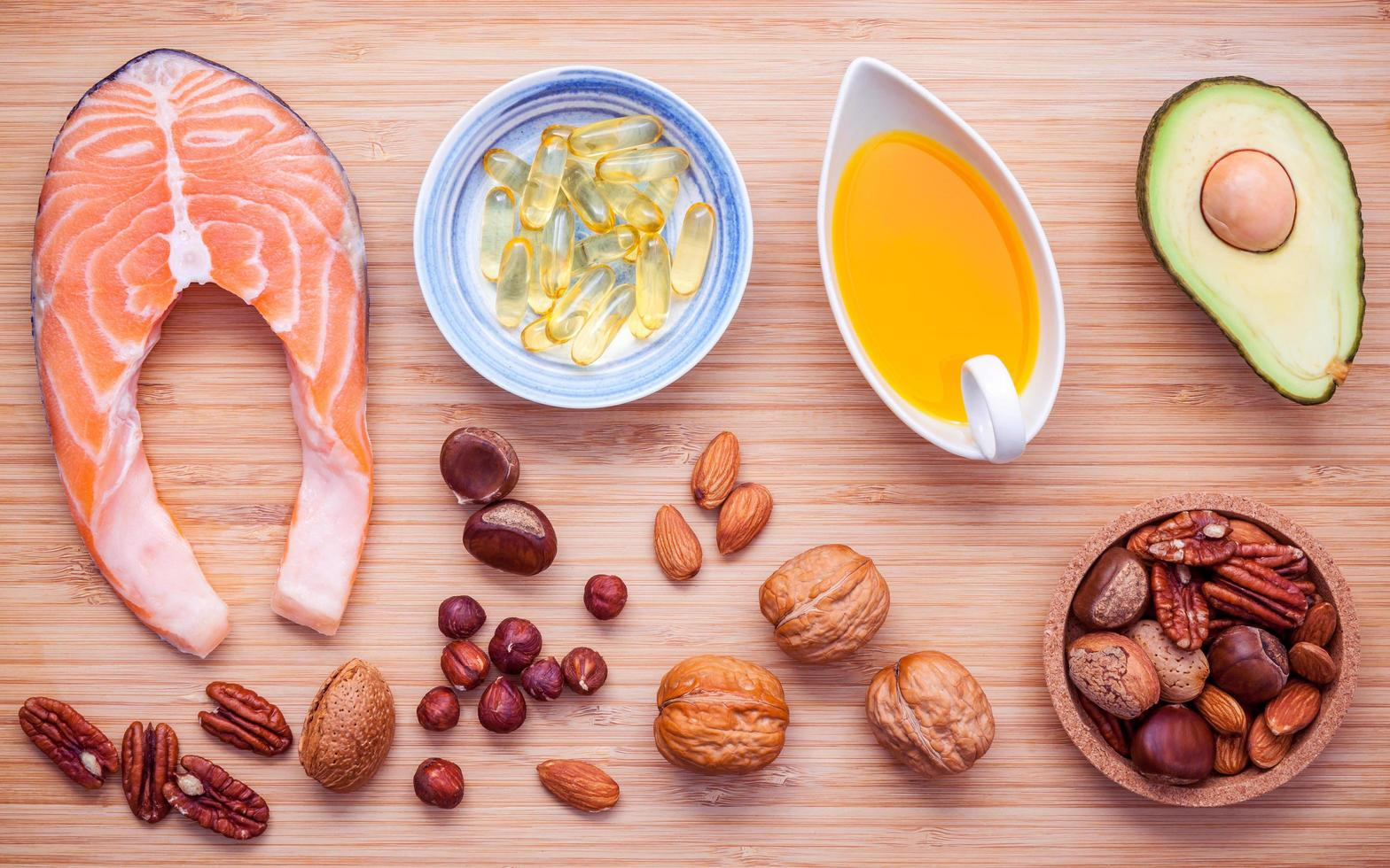 Selection food sources of omega 3 and unsaturated fats photo