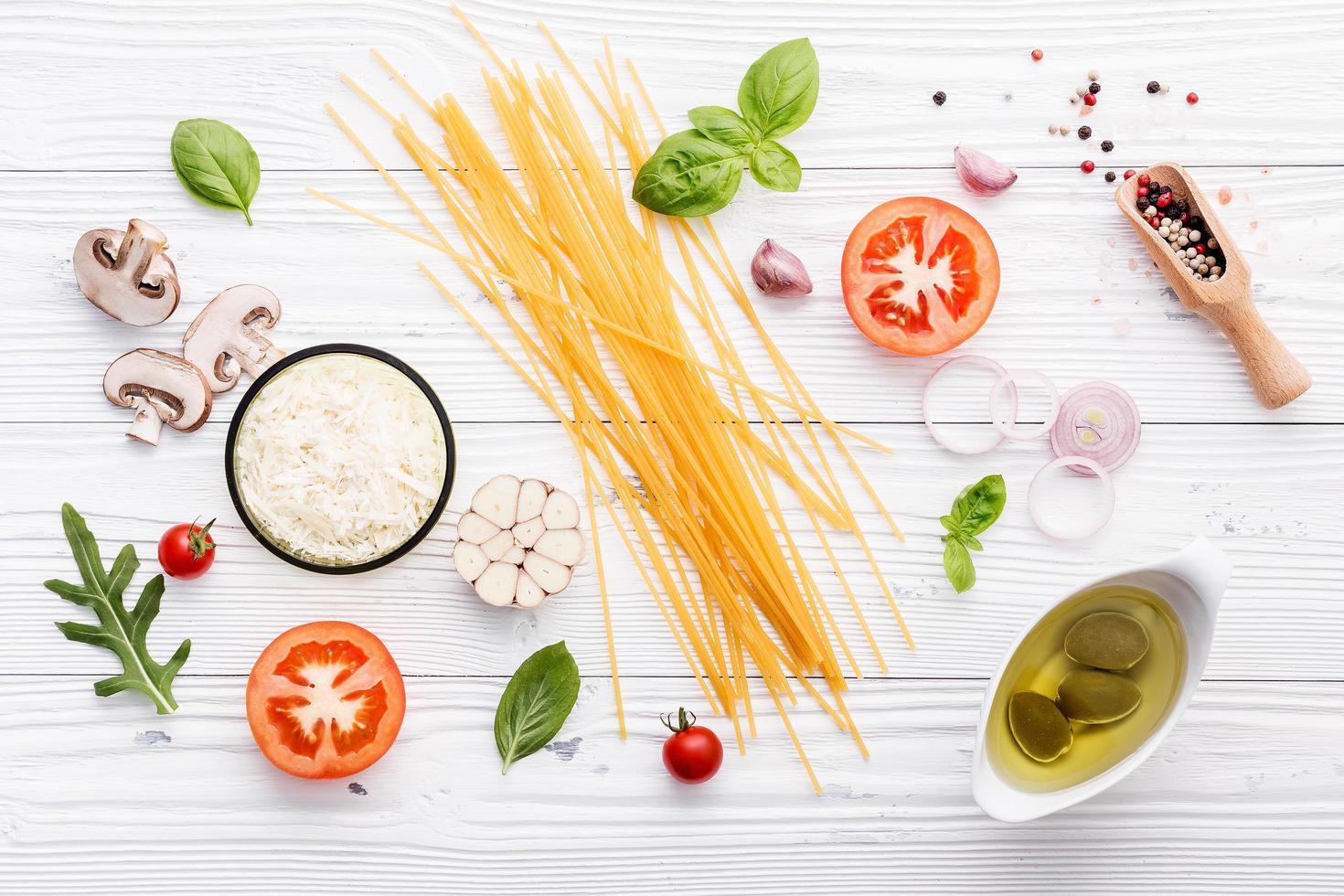 Fresh spaghetti ingredients photo
