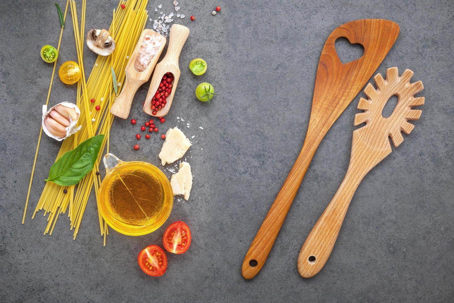 Spaghetti ingredients concept photo