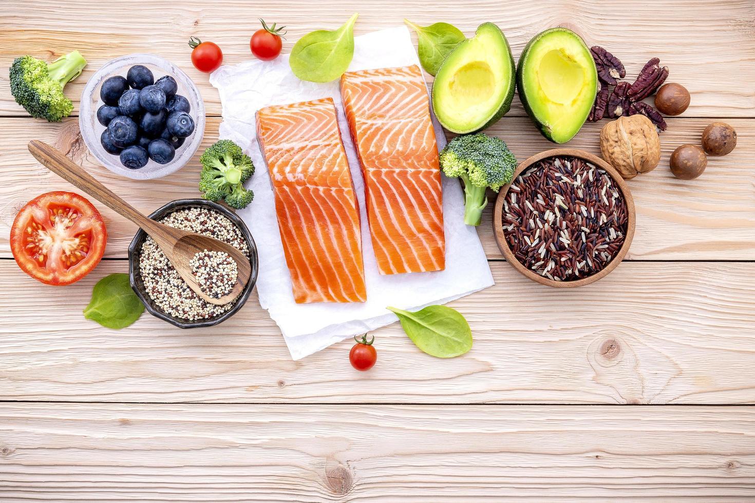 Salmon with fresh ingredients photo