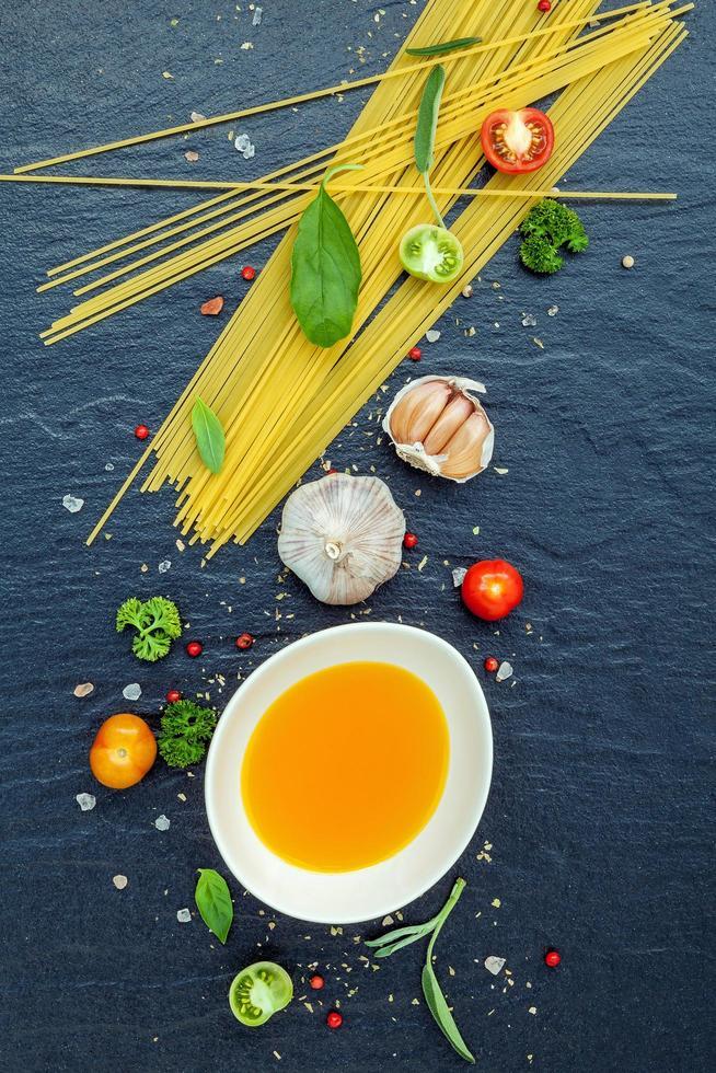 Spaghetti and herbs photo