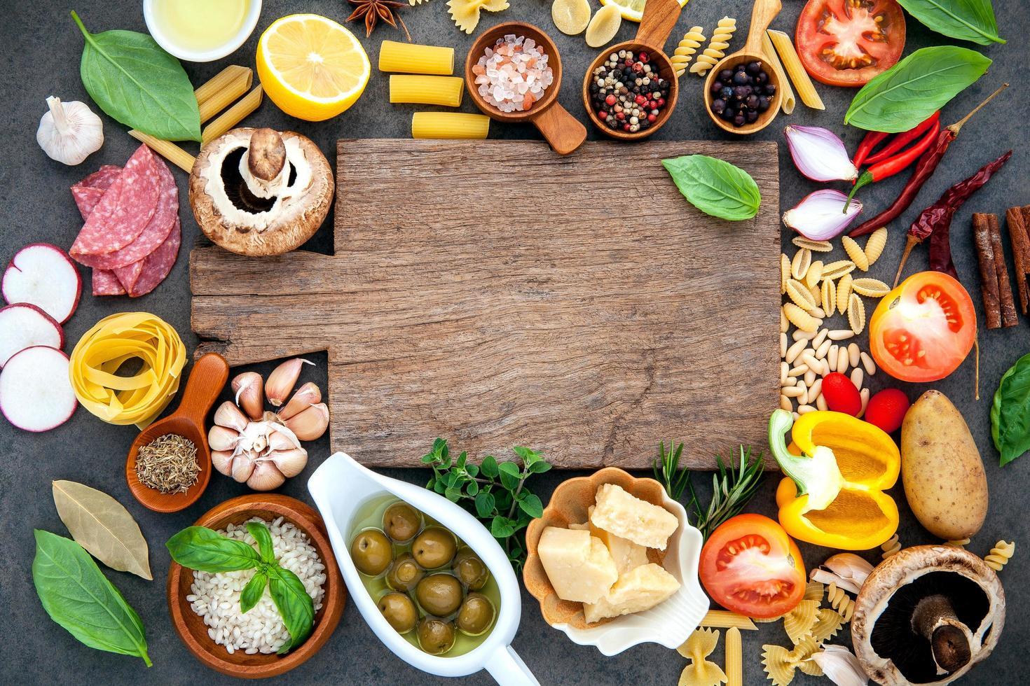 Cooking ingredients with a cutting board photo