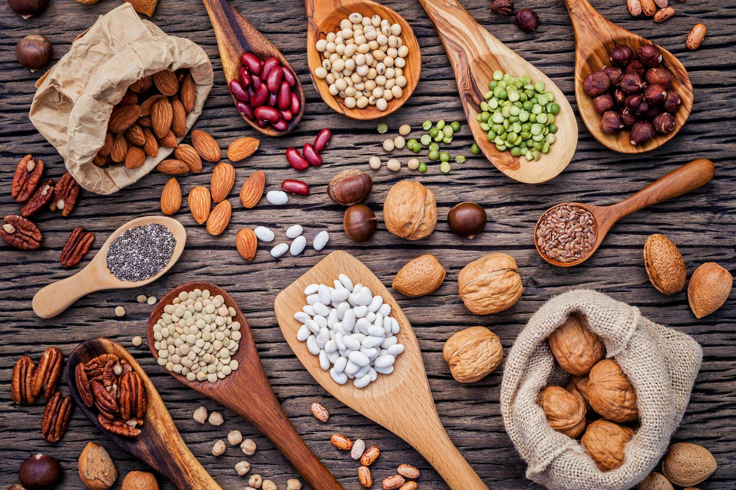 Flat lay of legumes and nuts photo