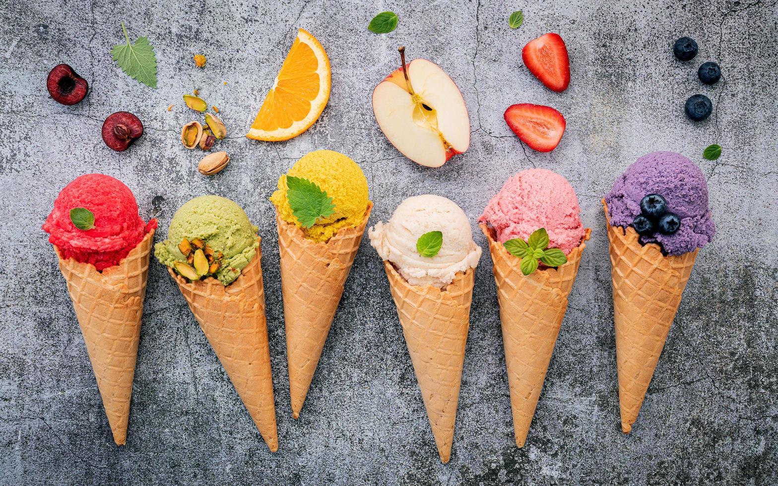 Fruit and ice cream on concrete photo