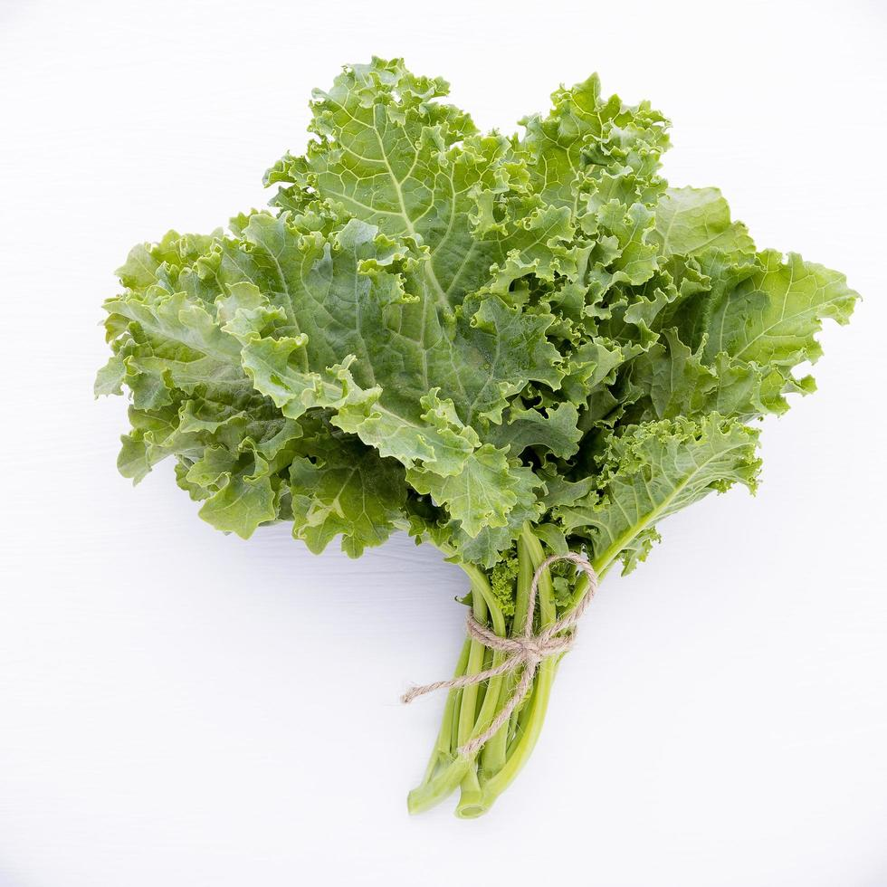 Kale leaves flat lay photo
