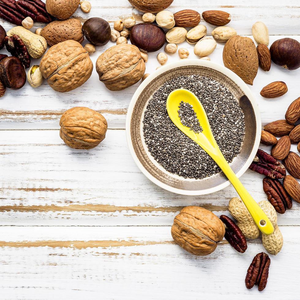 Nuts flat lay photo