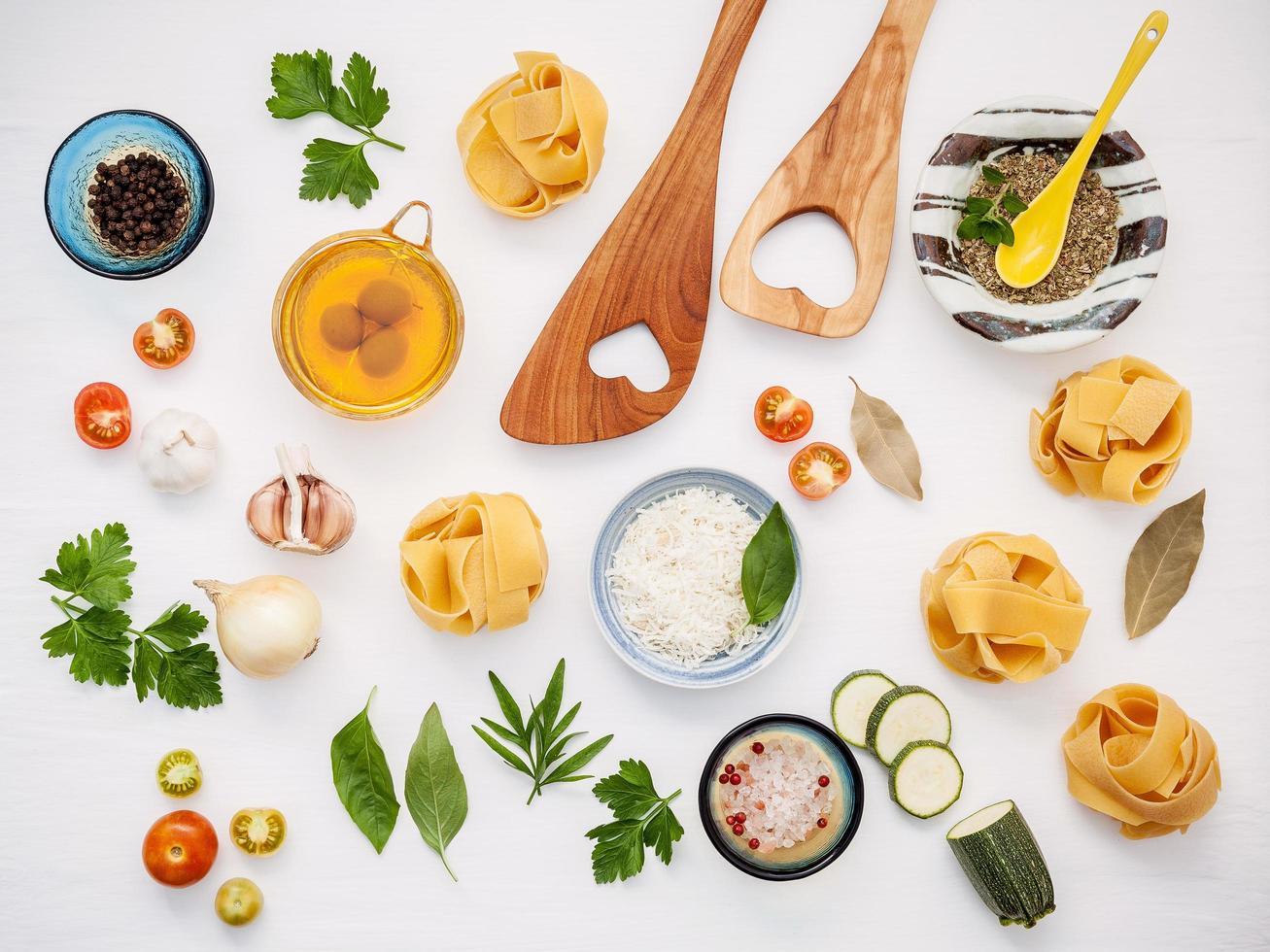 Top view of Italian ingredients photo