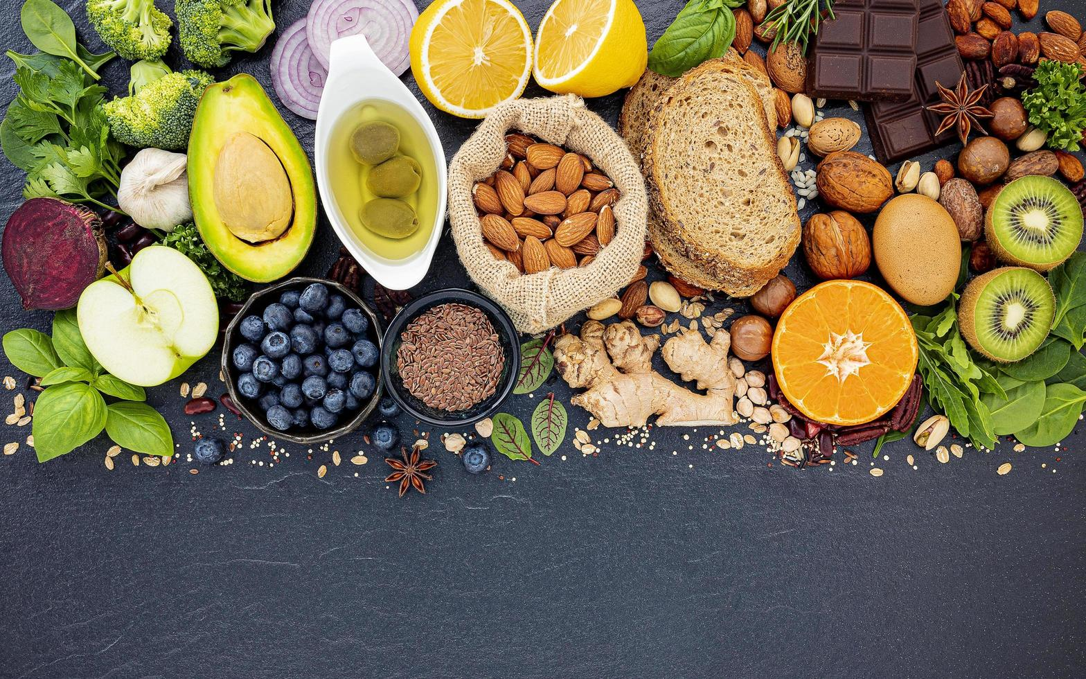 Healthy ingredients on slate photo