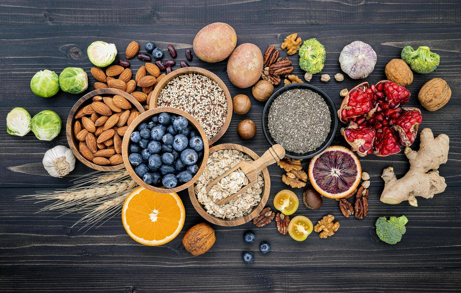Top view of healthy foods on slate photo