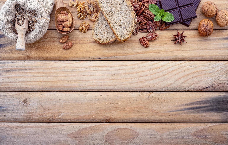 Cooking ingredient border on wood photo
