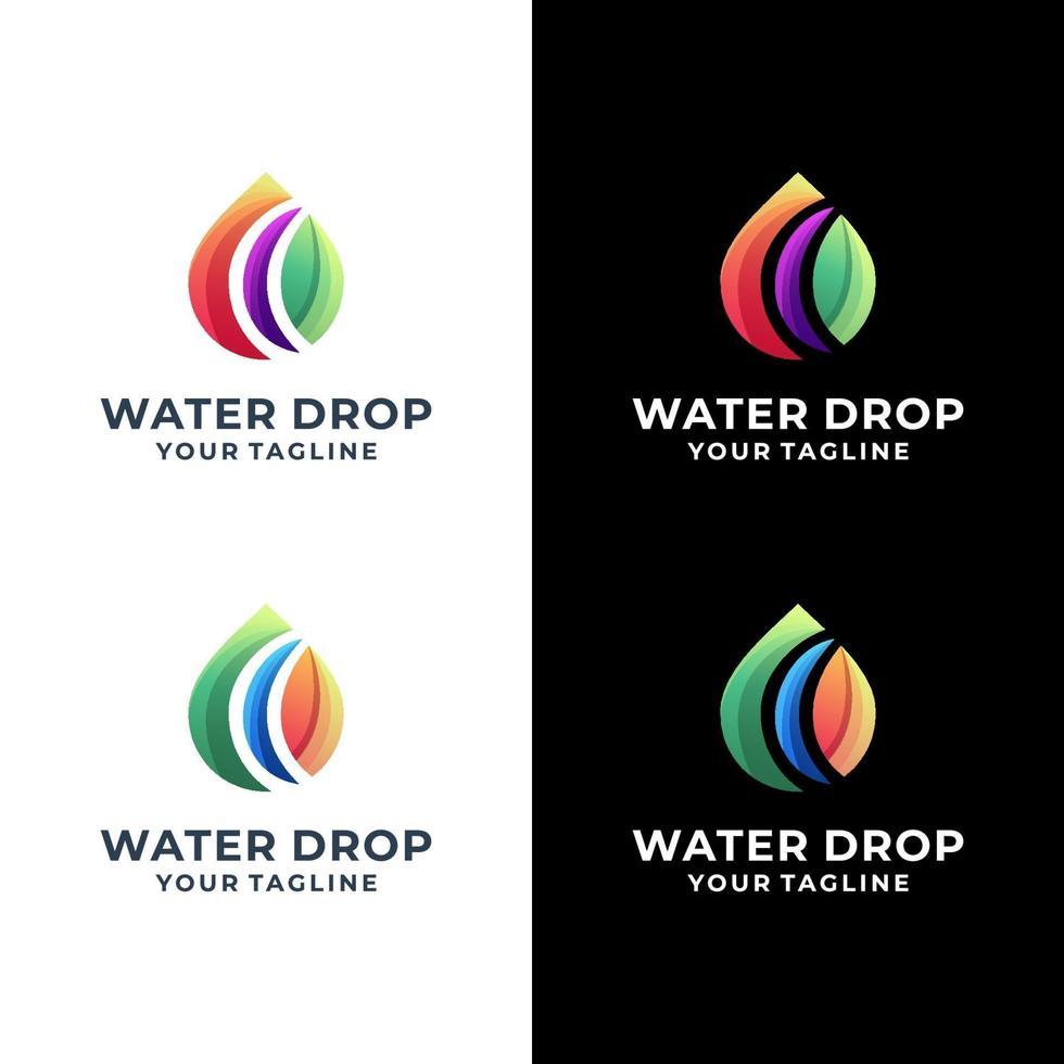 water drop colorful logo set vector