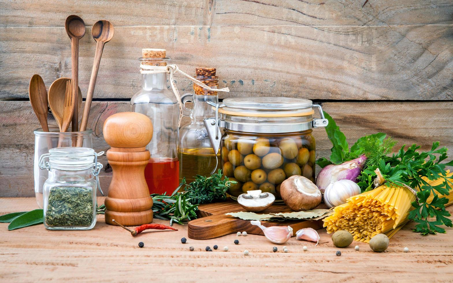 Italian food concept on wood photo