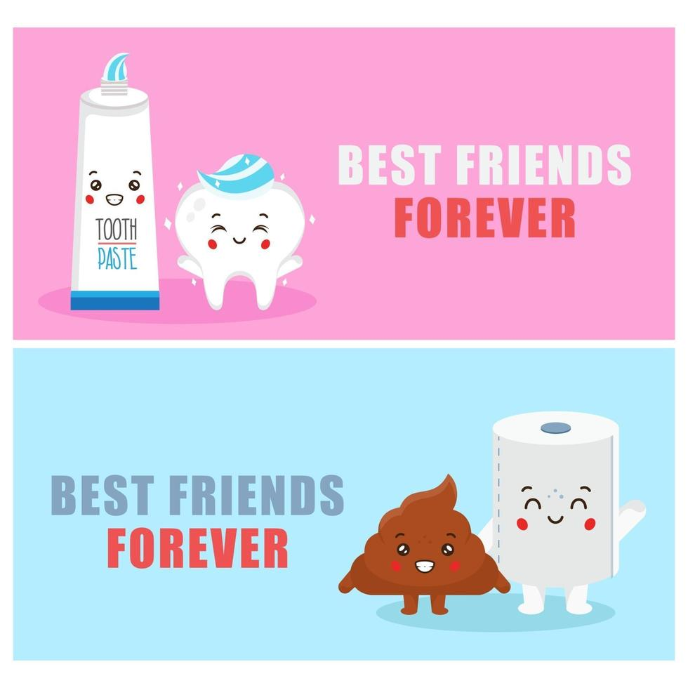 Hand Drawn Inseparable Friends Cartoon Icon Banner Set vector