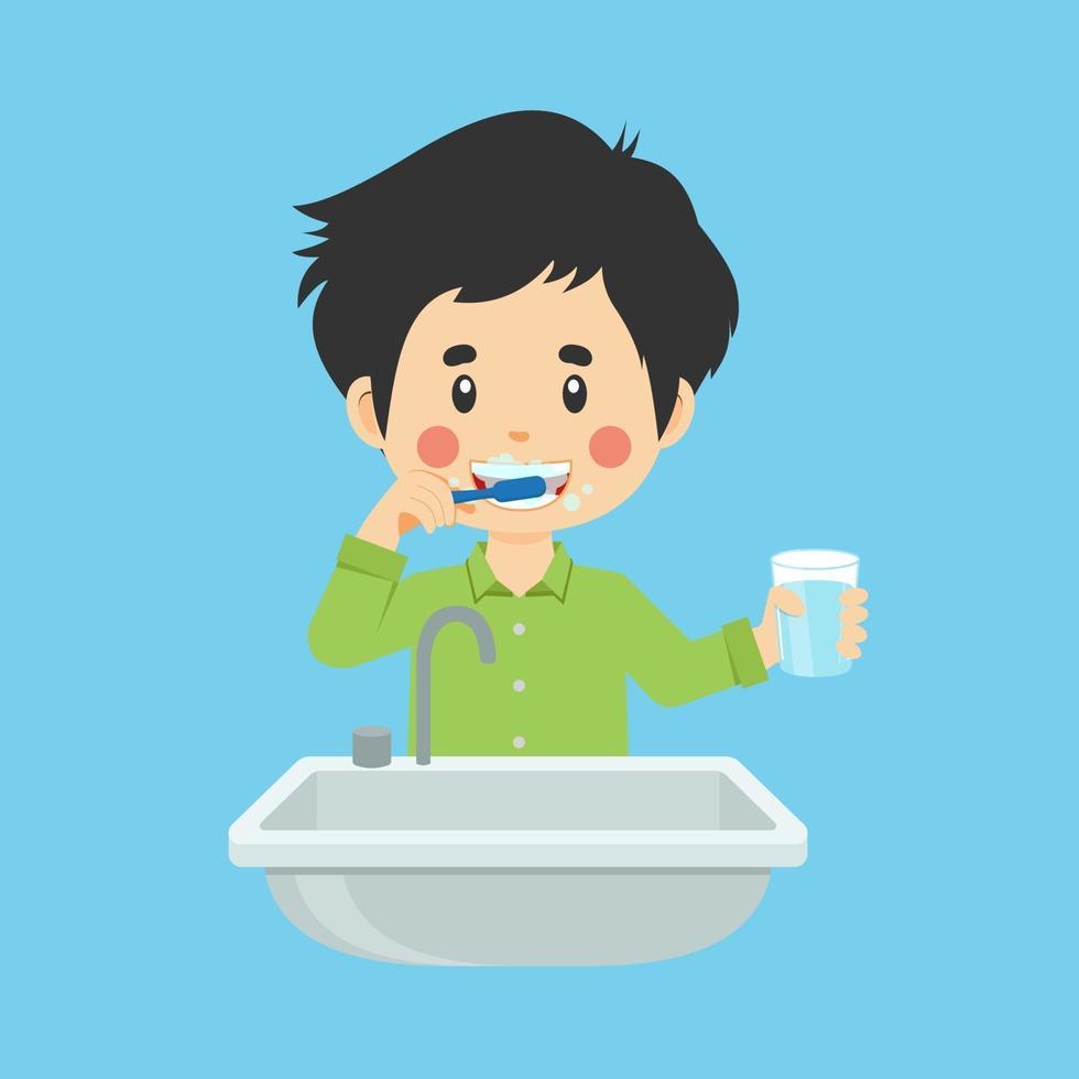 Happy Cute Kid Boy Brushing Clean Teeth vector