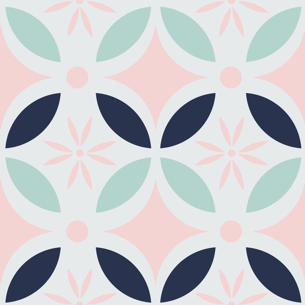 Modern Batik Kawung seamless pattern in pastel color. Javanese batik pattern. vector