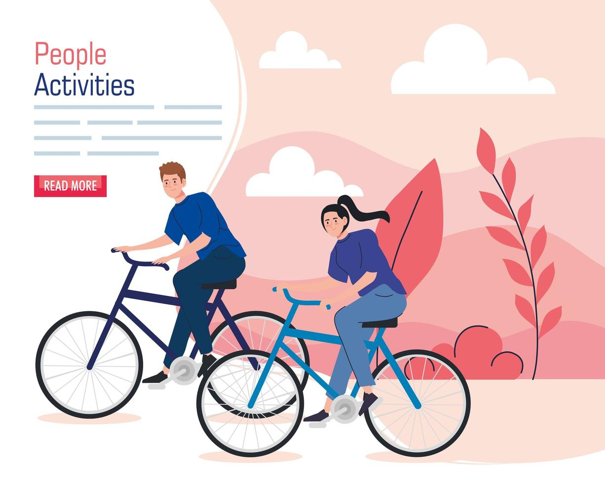 banner of a young couple riding bikes outdoors vector