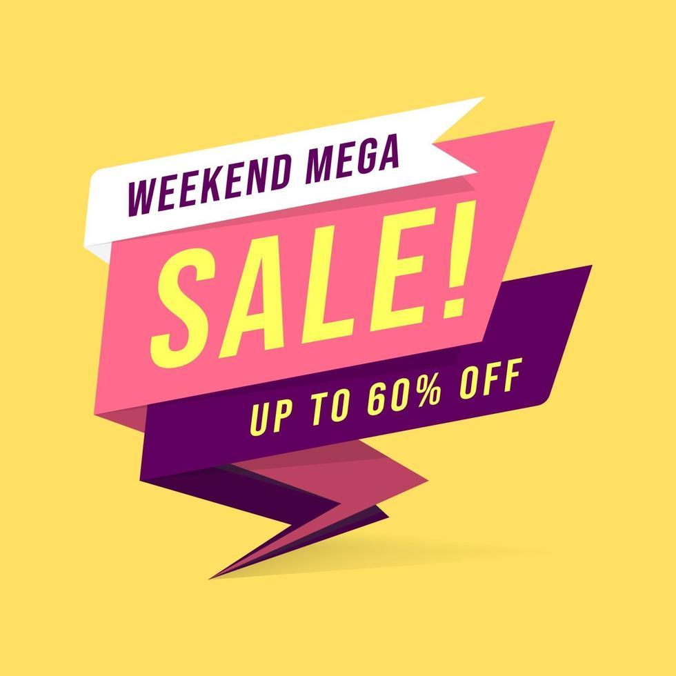 Plantilla de banner de mega venta de fin de semana en estilo plano. vector