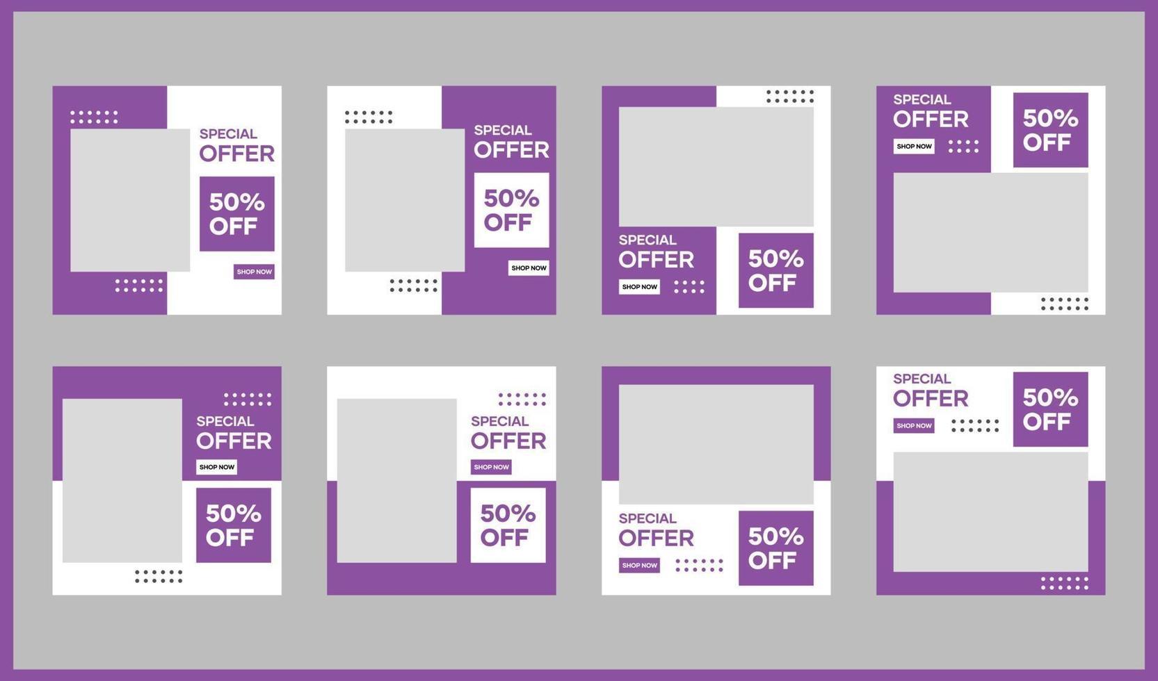 Plantillas de redes sociales y banners para medios publicitarios y promocionales. vector
