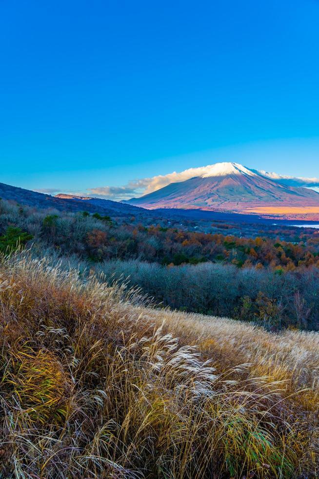 Fuji mountain at the Yamanakako or Yamanaka lake in Japan photo