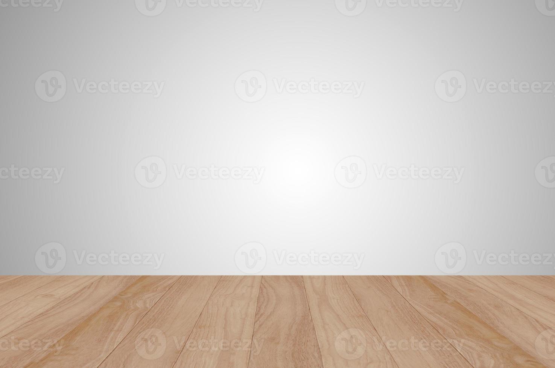 Wood platform on grey background photo