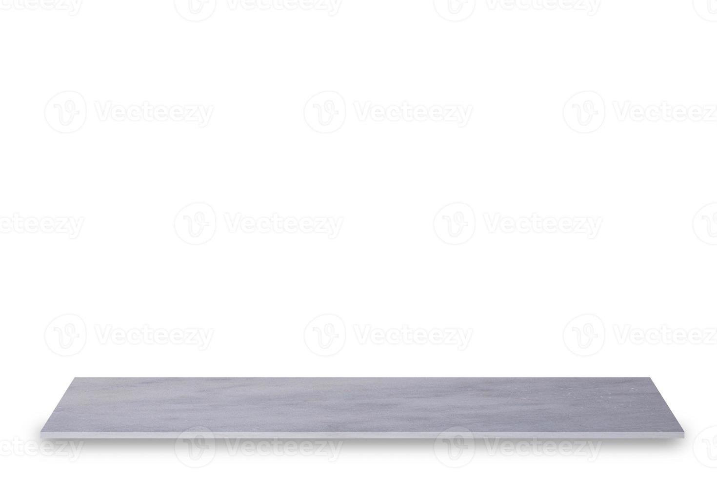 Estante de mármol blanco sobre fondo blanco. foto