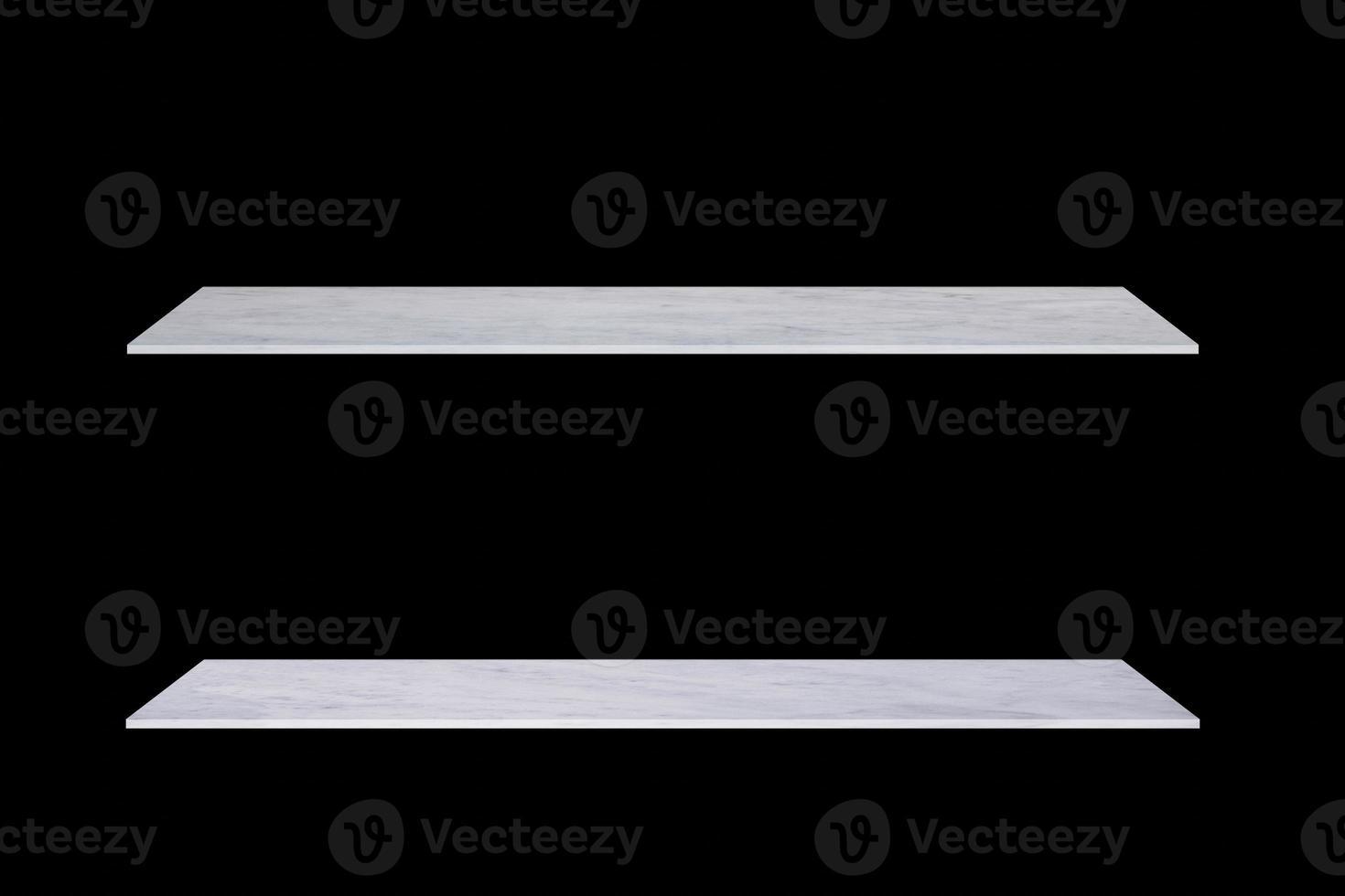 Dos estantes de mármol blanco sobre fondo negro foto