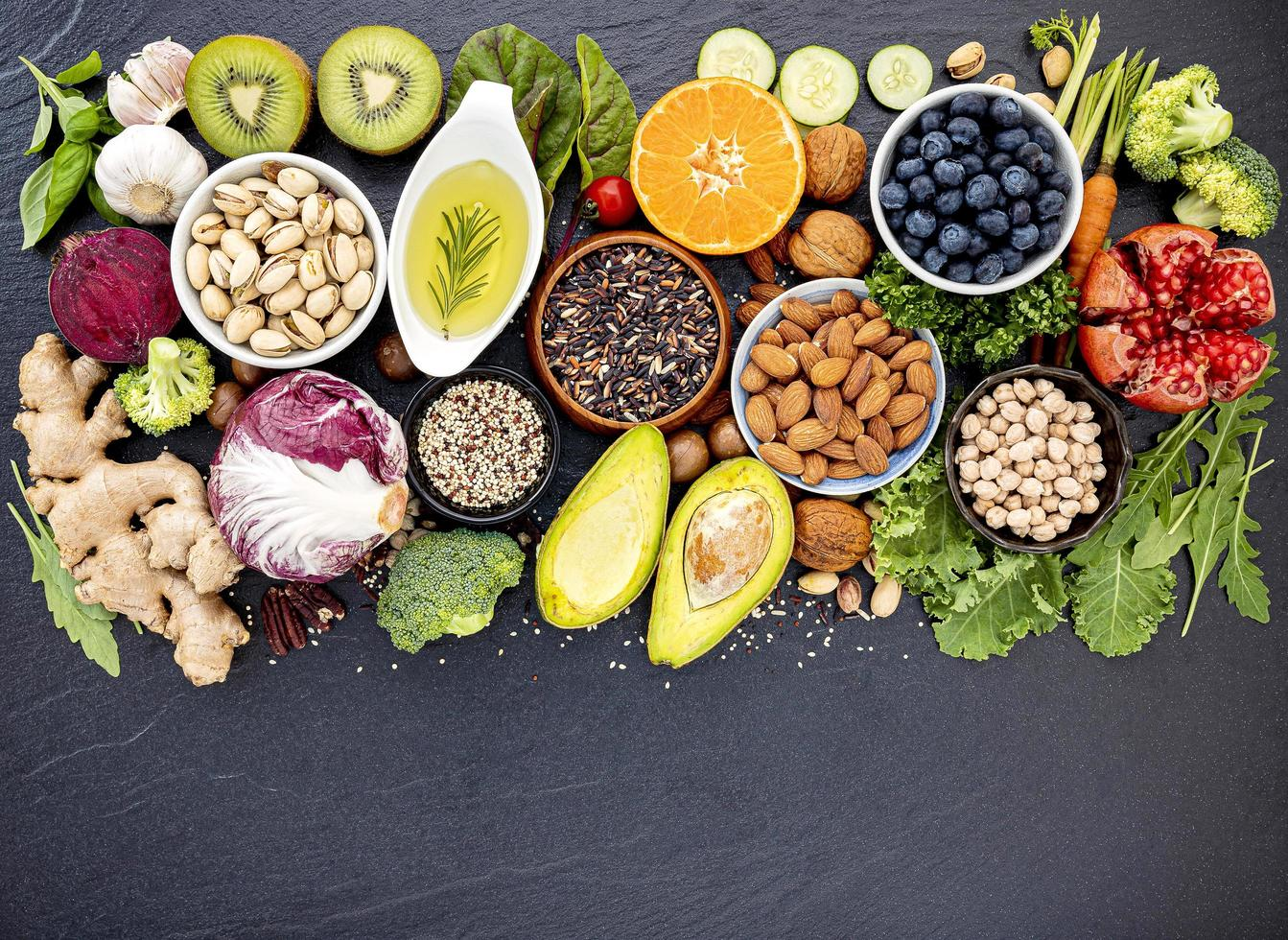 selecciones de alimentos saludables foto