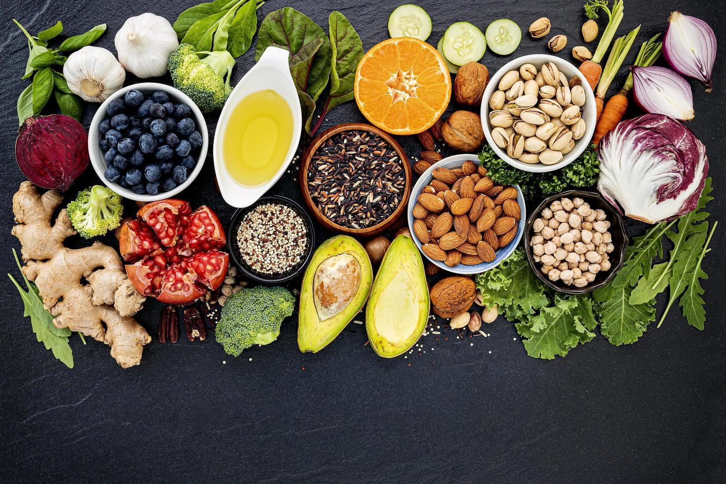Top view of organic food photo