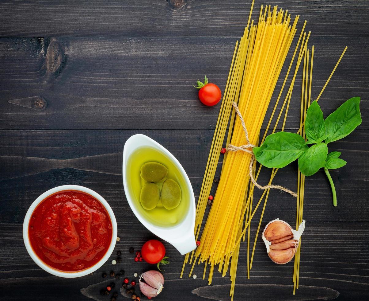 Spaghetti ingredient top view photo