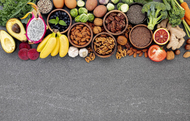 Healthy ingredients on dark concrete photo