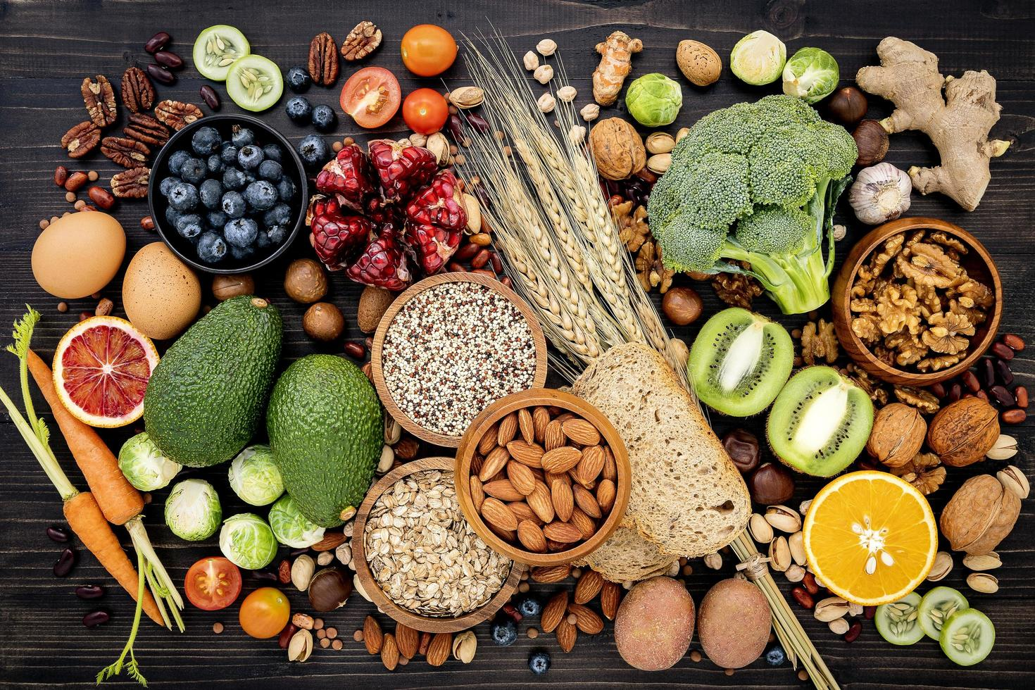 Top view of healthy foods on a black background photo