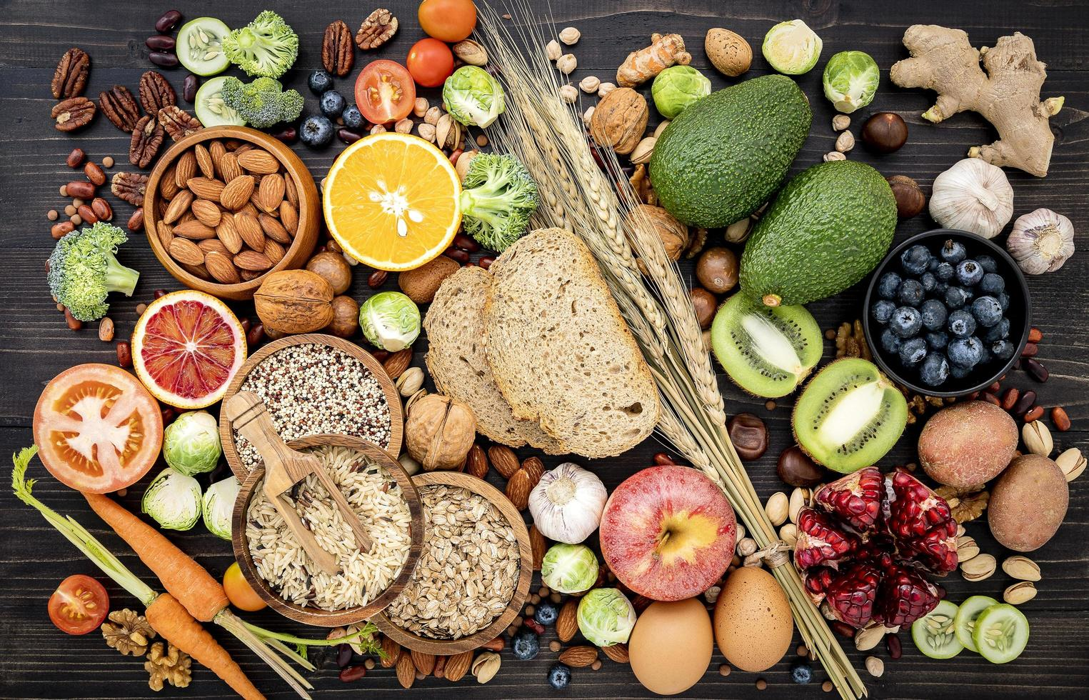 Pile of healthy food photo