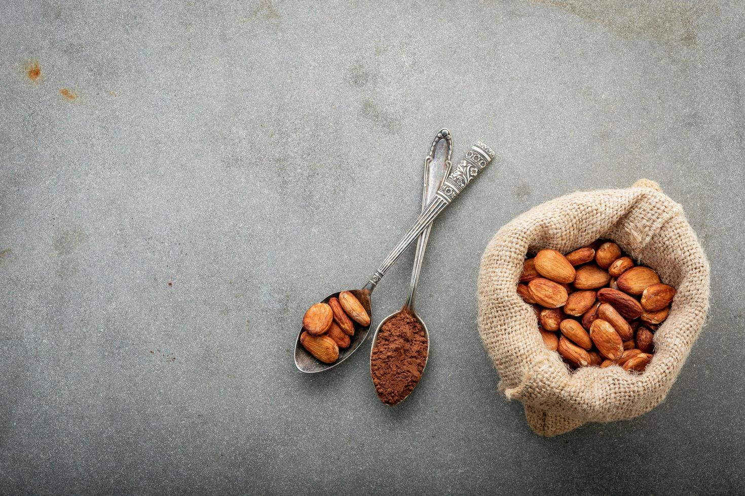 Cacao beans on concrete background photo