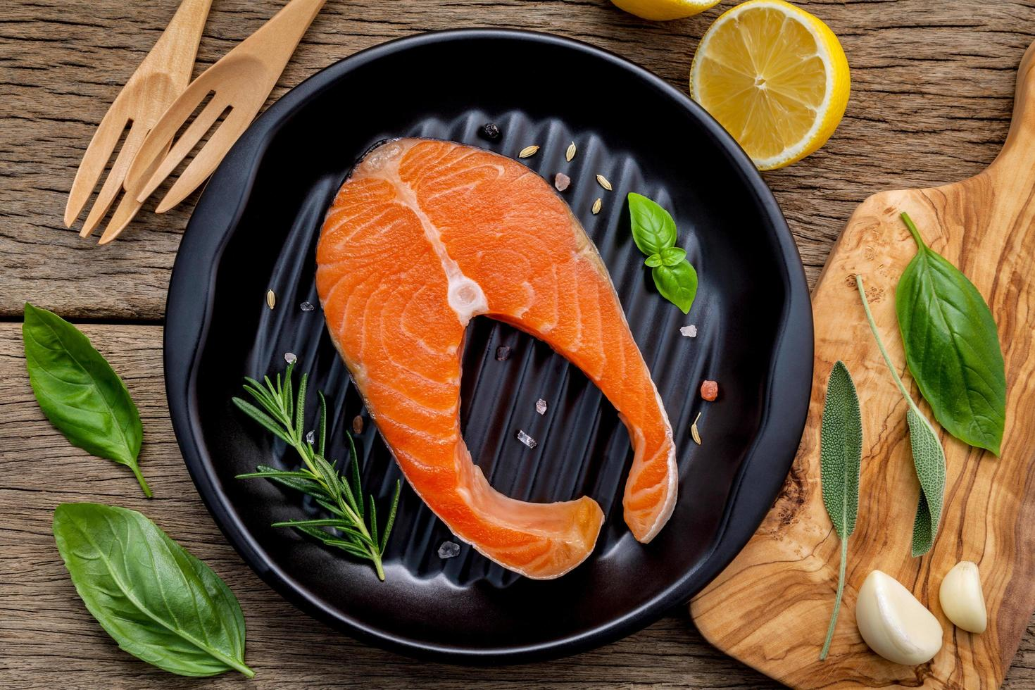 Top view of salmon in a skillet photo