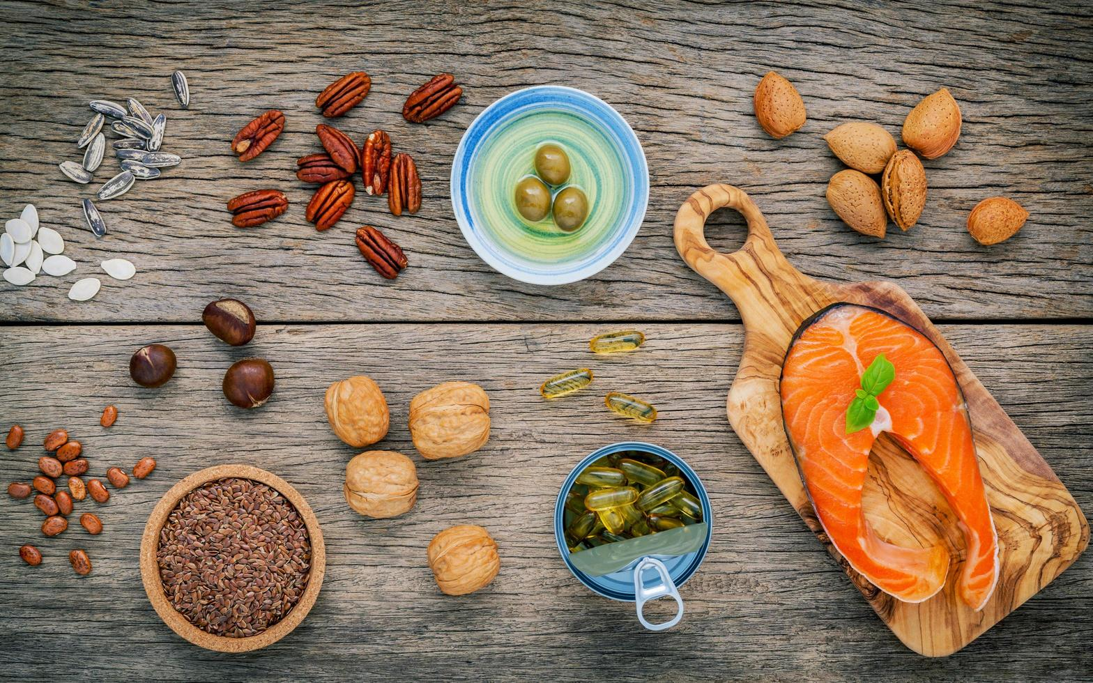 Top view of omega 3 rich foods photo
