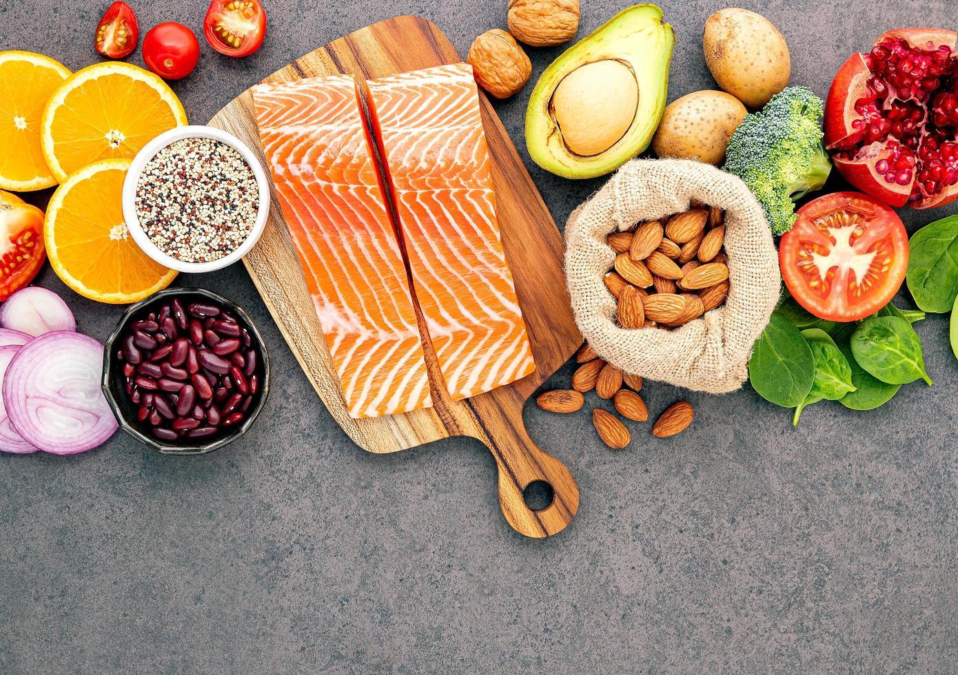 Salmon and fresh ingredients photo